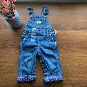 Girl Oshkosh B,gosh denim overalls size 12 months